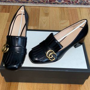 Gucci Shoes - Gucci Marmont  black leather mid heel - size 7.5